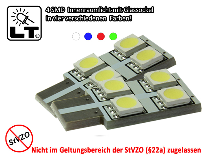 2x-4-SMD-3-Chip-Side-LED-Innenraumbeleuchtung-w5w-T10-Glassockel-in-weiss