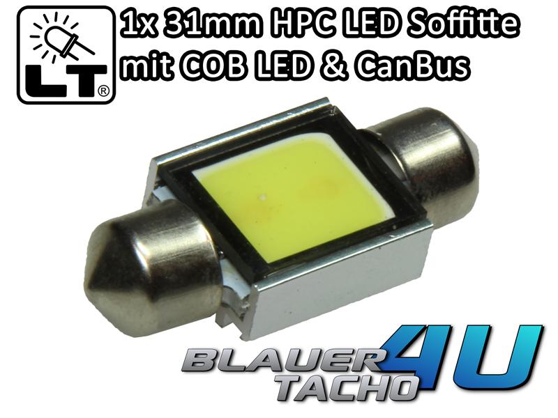 1x-31mm-HPC-COB-2-WATT-LED-Soffitte-Innenraumbeleuchtung-Can-Bus-sicher-in-weiss