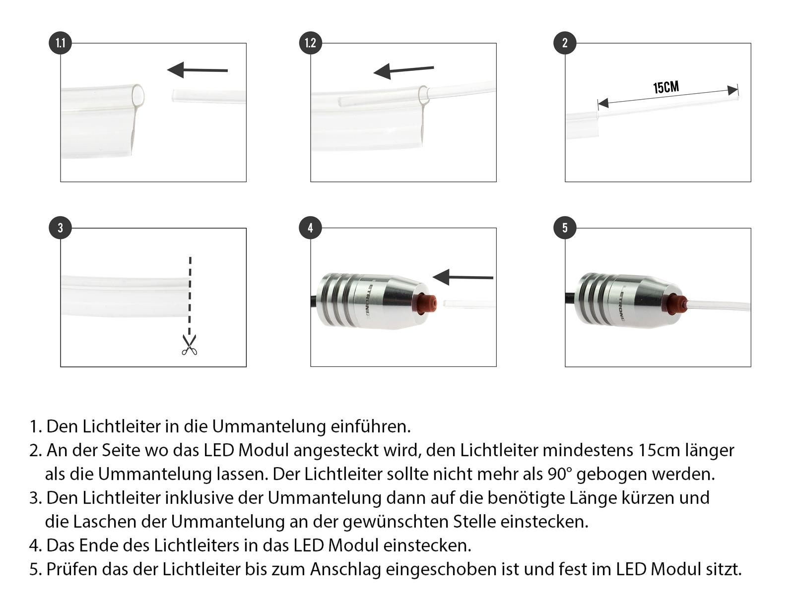 RGB LED Ambientebeleuchtung 6er Set passend für BMW F10 F07